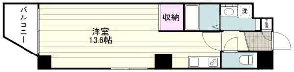 新築1R 洋13.6帖『Zeroベル通り602』間取り