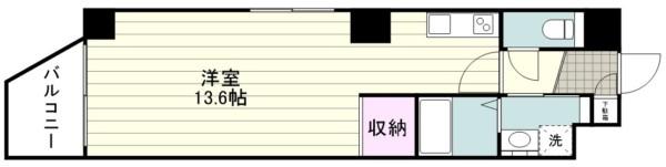 新築1R 洋13.6帖『Zeroベル通り601』間取り